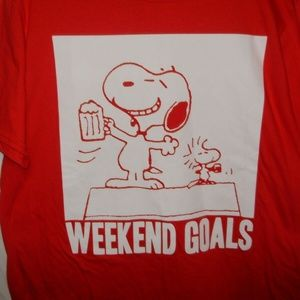 Peanuts Snoopy Woodstock Mens T-Shirt Size L Weeke